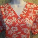 Lightweight orange white tropical v-neck scrubs top nurse medical dental vet M