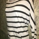 Black white stripe stretch knit top M band waist dohlman sleeve NY&C lightweight