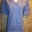 Women size M scrubs nurse uniform top v-neck CREST oriental silky look style