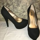"Black suede platform CHARLOTTE RUSSE dress 5.5"" high heels shoes 9 closed toe"