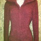 MAURICES chenille dark pink zipper collared sweater soft warm M front pockets