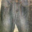 WRANGER 31X30 Slim Straight men's 5 pocket stone wash denim blue jeans whiskered