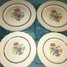 4 KEYSTONE Canonsburg Pottery antique dinner plates floral scallop 22 KT gold