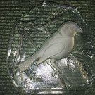 Sparrow bird imprinted heavy brilliant glass frosted embossed paperweight decor