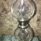"""Set 2 vintage clear glass stacked orbs chrome 13"""" candlestick lamps MCM 60s EC"""