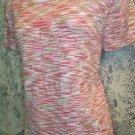 Varigated print short sleeve crewneck fine knit stretch top women L  peach khaki