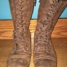 Brown suede leather mid calf lace up back zip combat military style boots 6.5