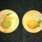 "2 small 4.5"" mini plates by SUSAN WINGET fruit motiff pear lemon farmhouse decor"