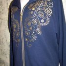 Soft knit navy blue gold embellishment zip front stretch jacket L collar pockets