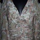 Mesh netting semi sheer ruched slit bell sleeves women S-M green top hippie boho