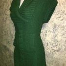 Hunter green long tunic sweater M shawl collar short sleeve mini dress cableknit
