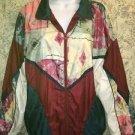 Vintage 80s nylon windbreaker silky artsy patchwork fabric jacket coat plus 1X