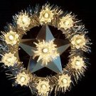 Shabby chic glam glitter lighted CHRISTmas tree topper star tinsel silver white