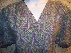Artsy paisley women S TAFFORD scrubs nurse dental uniform v-neck top pullover