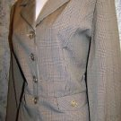 Khaki black fine plaid 4 button blazer jacket straight skirt suit juniors 9/10