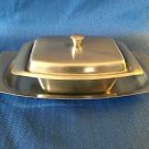 Stainless steel retangle butter cream cheese dish w/cover relish/cracker tray