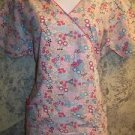 Pink flowers women S DICKIES scrubs nurse dental uniform v-neck top pullover