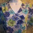 Mock wrap gathered back tie blue floral SB Scrubs top nurse medical dental vet S