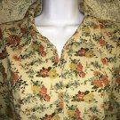 CHRISTOPHER BANKS floral pinwall corduroy fitted button down shirt XL casual GC