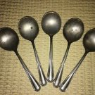 5 antique silverplate ? silverware small soup spoons unmarked simple elegant