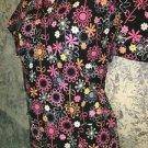 Black cheerful bright floral  v-neck scrubs uniform top dental nurse medical S
