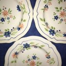 "3 vintage SEARS French Country Ironstone salad bread plates 7.5"" flowers scallop"