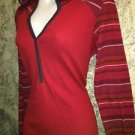 COLUMBIA Sportswear hooded thermal waffle weave hooded stretch top red blue M