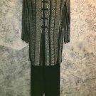 JONATHAN ANDREWS 10 pants tunic top suit set black khaki silky oriental style