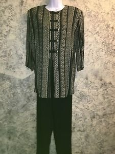 JONATHAN ANDREWS 10 pants tunic top suit set black khaki silky oriental style