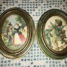 "2 vintage Victorian oval framed pictures 3.5x4.5"" man woman cherub angel Italy"