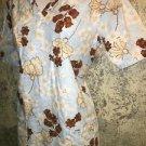 Blue brown floral v-neck scrubs CHEROKEE 1700 top 2 pocket medical nurse S