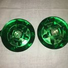 2 vintage green anodized aluminum Mid Century taper candle holders CHRISTmas