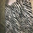 Zebra animal print KAREN SCOTT knit stretch 3/4 sleeve top v-neck XL black gray