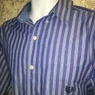 CHAPS Easy Care blue white stripe button down dress shirt M casual workwear
