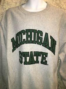 MICHIGAN STATE gray green men's XL Steve & Barry's pullover sweatshirt crewneck
