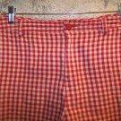 Modest length red khaki gingham check women's 8 cotton shorts elastic panels GUC