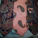 "3 men's retro silk ties paisley print madmen hipster mod wide bottom 3.5"" used"