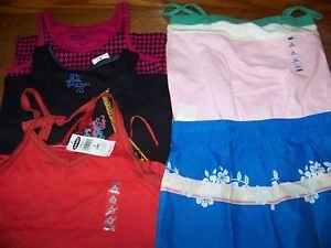 NEW tank tops camis shorts girl's L 10 12 lot OLD NAVY guitars tropical pink blk