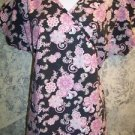 Black pink floral wrap style pullover scrub top nurse medical uniform women S