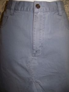 Women size 11 XHILARATION skirt knee length fringe frayed hem distressed blue GC