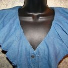 Blue linen blend sleeveless ruffled neckline v-neck button down blouse women S