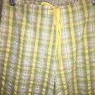 CHADWICK'S capri peddle pusher pants 8 seersucker yellow plaid elastic waist