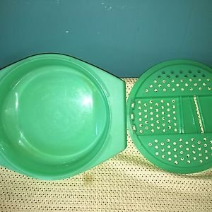 "TUPPERWARE green jadite cheese veggie grater slicer container 9"" round food prep"