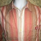 ECKO UNLTD 100% cotton peach orange striped long sleeve shirt button down mens L