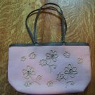 LIZ CLAIBORNE CO. pink purse leather trim stone deco ~~