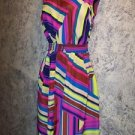 NEW bright vibrant abstract silky hankerchief hem sundress open back dress M nwt