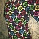 Black cheerful geometric checkered  v-neck scrubs uniform top dental medical S