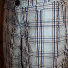 Plaid blue women junior size 1 lightweight bermuda shorts SO GUC low rise modest