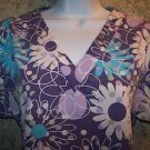 Purple large flowers pullover v-neck scrubs top nurse medical uniform women S