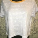 CHARLOTTE RUSSE ring tee lightweight crop t-shirt top M white yellow collar NWT